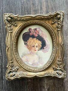 Vtg Gold Gilt Ornate Picture Frame Chalkware ? Baroque Rococo Victorian Lady F