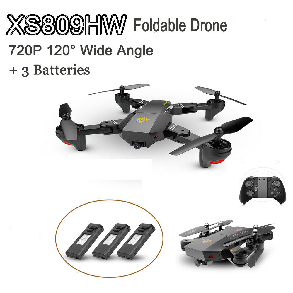 VISUO XS809HW Wifi FPV 2.0MP Wide Angle RC Quadcopter G-Sensor w  3 Battery T8J2
