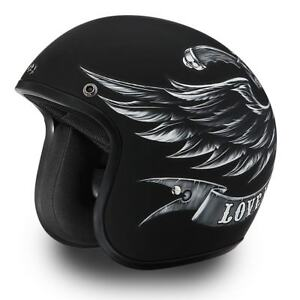 92761bd73e0 Daytona CRUISER W  LOVE IT Black D.O.T. Motorcycle Biker Helmet DC6 ...