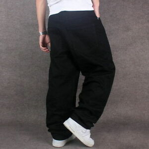 New-Men-039-s-Black-Jeans-Denim-Pants-Fashion-Classic-Trousers-Baggy-Hip-Hop-W30-W46