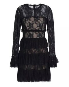 Details About Bailey 44 Tiered Ruffle Lace Dress 248 Size 10
