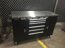 """HOMAK 60 INCH BLACK STAINLESS STEEL 60"""" ROLLING WORK STATION TOOL BOX CABINET"""