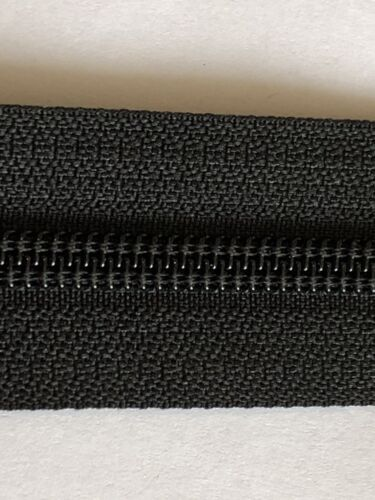 YKK NO-5 CN 8 INCHES LONG WATER REPELLENT NYLON COIL ZIP BLACK CLOSE ENDED
