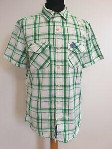 DD622-blanco-verde-para-hombre-de-Superdry-en-cuadros-S-Manga-Camisa-Uk-Calce-Ajustado-L-EU-52