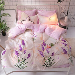 Printing-flowers-Pink-Bedding-Set-Duvet-Cover-Sheet-Pillow-Case-Four-Piece-New