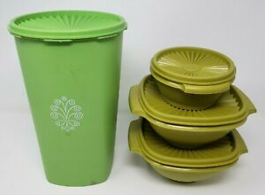 VINTAGE-Lot-of-TUPPERWARE-CANISTERS-Green-1222-8401323
