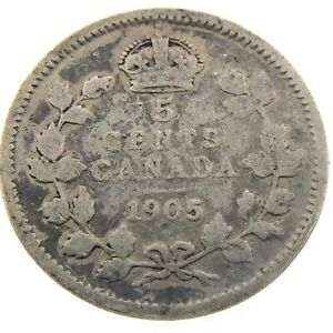 1905-Canada-5-Cents-Small-Silver-Circulated-Edward-VII-Five-Cents-Coin-P431
