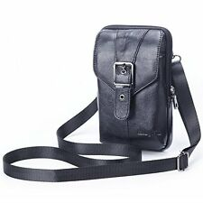 Leather Small Crossbody Shoulder Bag, Big Cell Phone Holster Belt Pouch Case