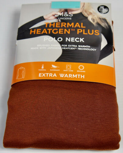 M/&S Thermal Heatgen Plus Polo Neck Top Supersoft Base Layer UK12 EU40 RRP£18