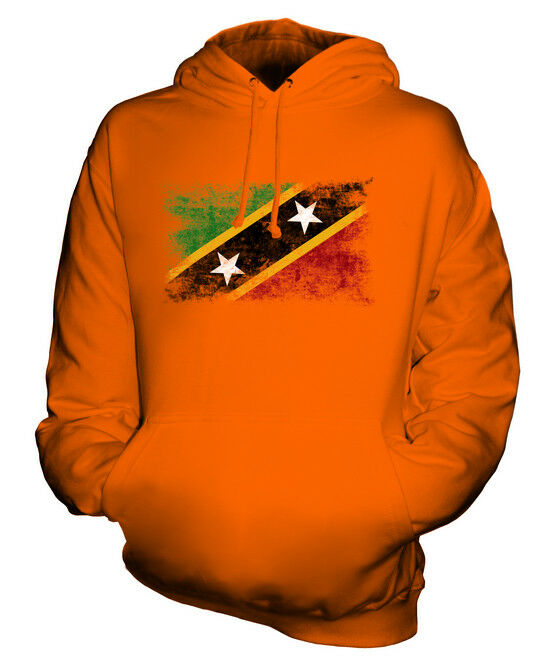 SAINT KITTS AND NEVIS DISTRESSED FLAG UNISEX HOODIE TOP KITTITIAN ST. KITTS