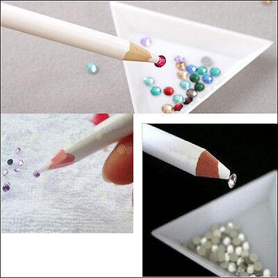 5Pcs Gem Crystal Rhinestones Picker Pencil Nail Art Craft Tool Wax White Pen