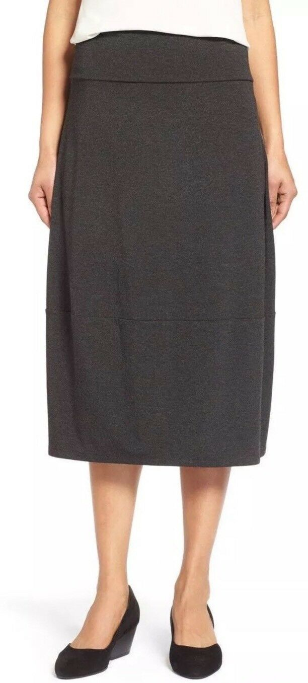 XL NWT EILEEN FISHER CHARCOAL COZY VISCOSE STRETCH F L LANTERN SKIRT
