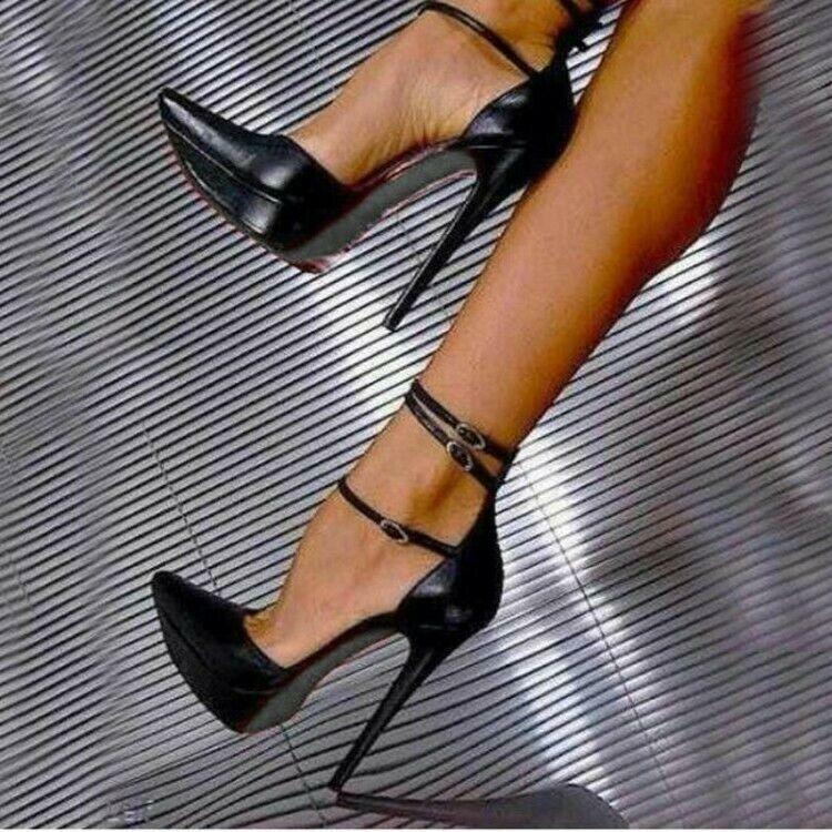 Femme sexy super-talons hauts chaussures point Toe Buckle Plateforme Club Soirée Sandales