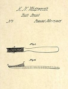 Official-Toothbrush-US-Patent-Art-Print-Vintage-Antique-Dentist-87-tooth-brush