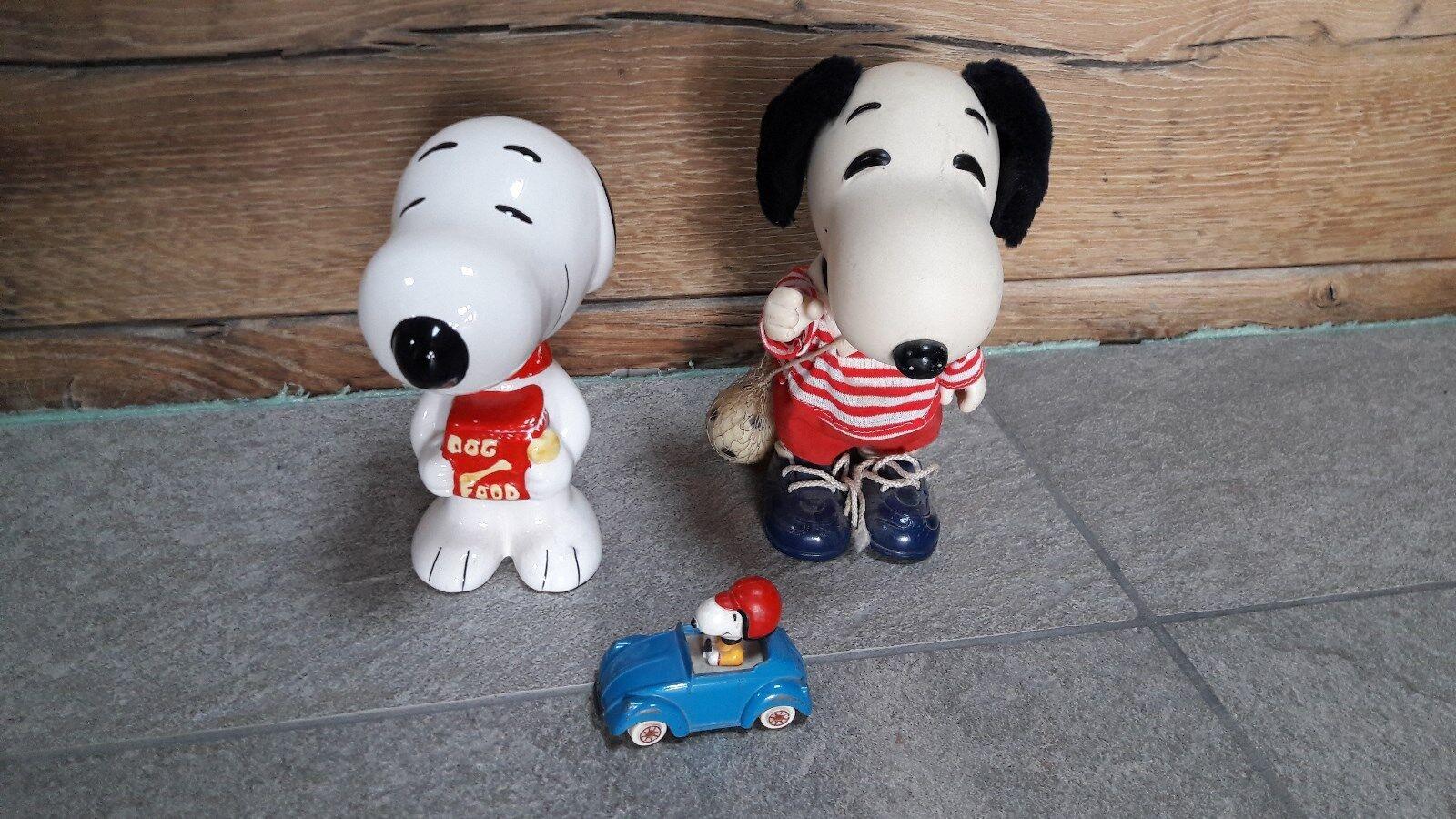 Lot Snoopy tirelire porcelaine figurine foot voiture ESCI vintage peanuts coin