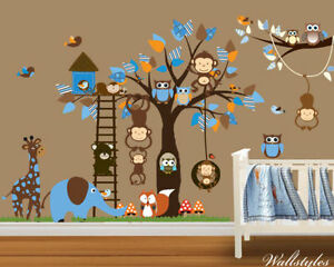Owl wall stickers monkey animal jungle zoo tree nursery for Baby jungle safari wall mural