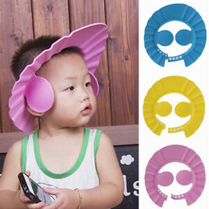 Soft Toddler Baby Bath Hat Shower Shampoo Visor Hats Wash Hair Ear ... 07bc61ddabb