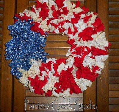 AMERICANA FLAG RAG GARLAND WREATH,Prim,Homespun,Country,Shabby,July4th,Patriotic