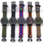 Waterproof Paracord Travel Digital Watch Survival Bracelet Compass Flint Whistle