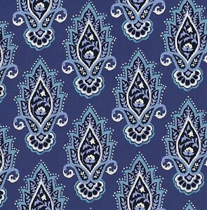 Michael Miller Indian Summer Lotus Flower On Blue Cotton Fabric Fq