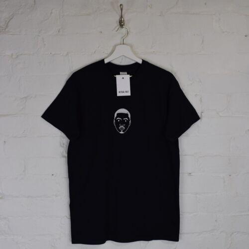 Actual Fact NAS Embroidered Face Hip Hop Def Jam Rap MC Black Tee T-shirt Top