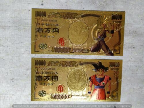x2 Dragon Ball Z Gohan Goku Banknote Gold Yen Collectible Japan No Bandai Card