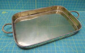 "Vintage Solid Brass Rectangular Display Tea Drink Serving Tray 18.5"" x 12.75"""