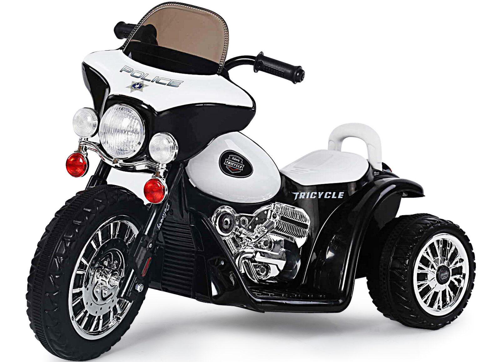 J568] Schwarz Harley Polizei Elektro Kinder Elektrofahrzeug Akku Dreirad Wagen