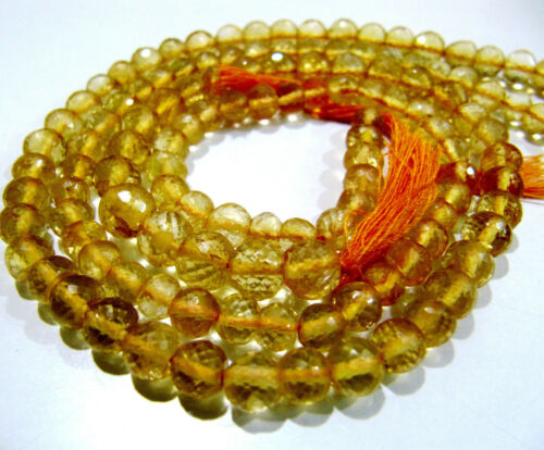 Natural Citrine Round Faceted Ball Shape Beads 5-6mm Size Strand 13.5 inch