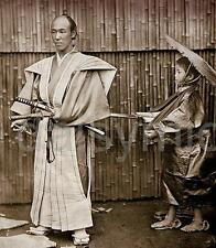 Samurai Warrior Sword & Child 1860, Reprint Photo 5x4 Inch Japan