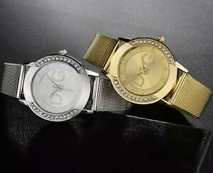 GOLD-SILVER-Chronograph-Designer-Style-Ladies-Watches-Women-Crystals-Bling-Watch