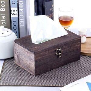 Home-Office-Table-Tissue-Holder-Cover-Paper-Napkin-Case-Wooden-Tissue-Box-GO9X