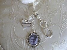 Vintage Inspired Ivory Granddad Infinity Memorial Bouquet Photo Charm Bridal