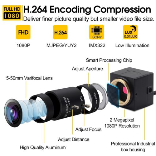2.0MP H.264 CCTV Sony IMX322 5-50mm Varifocal Lens Mini USB Webcam Camera 1080P
