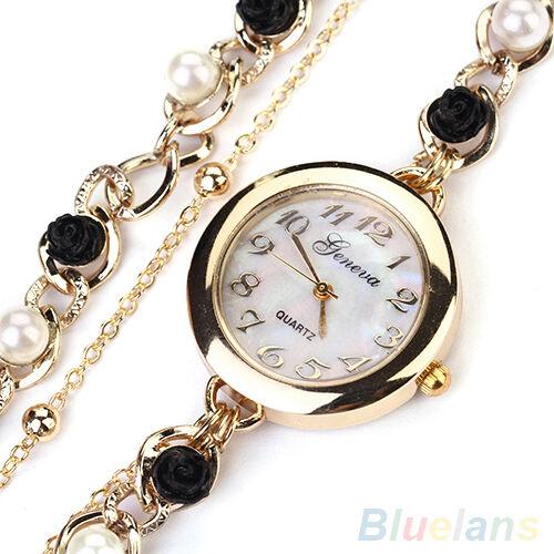 Women's New Popular Geneva Faux Pearl Flower Bracelet Quartz Dress Wrist Watch