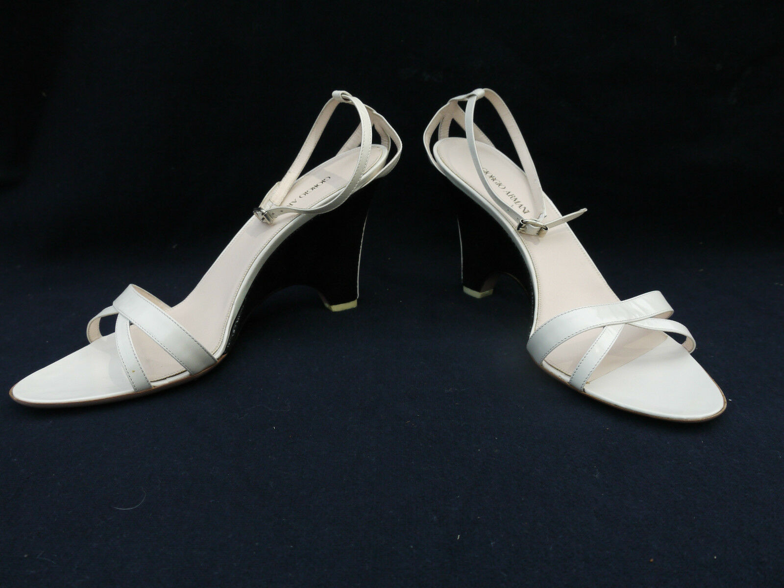 Giorgio Armani Women Wedges Heels shoes Size 39.5M Black and White BNIB