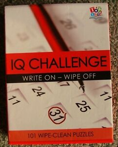 IQ Challenge -  101 Puzzle Cards - Easy, Moderate, Difficult - Wipe Clean