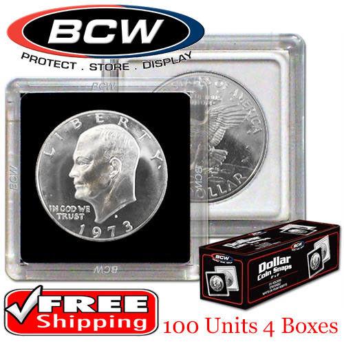 100 BCW 2x2 Plastic Coin Holders US Large Dollar Premium Snaplock Storage Lot
