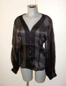 Sehr edle schwarze Bluse Chiffon Glanz Optik schimmernd ...
