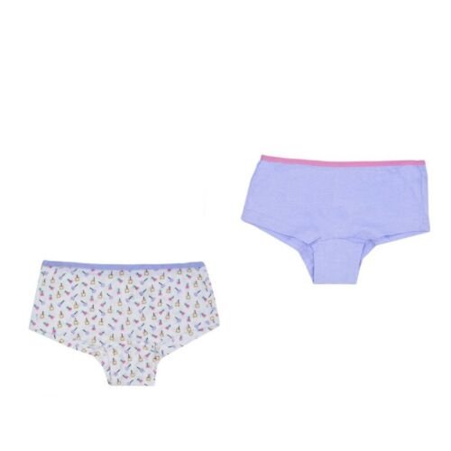 Girls Pack of 2 Plain Star Print Hipster Cotton Briefs Pants Shorts Knickers TN