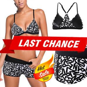 Black Top Triangle Halter /& Floral Swim Shorts Bikini Bathing Suit 2PC XL-2XL US