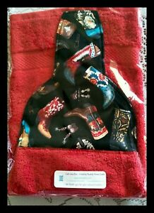Western-theme-RED-Kitchen-Hanging-Hand-Towel-Cowboy-Boots-Handmade