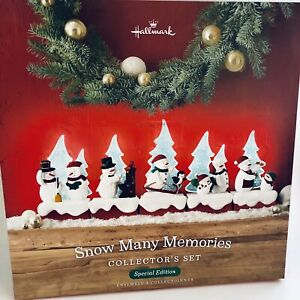 Hallmark-2018-Snow-Many-Memories-Collector-039-s-Set-Snowmen-Lighted-Trees-Limited