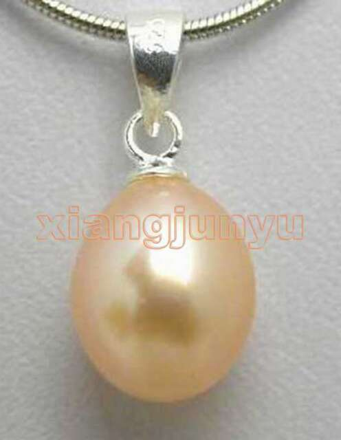 """SALE Big 7-9MM pink Drop natural Pearl Pendant 17"""" silver plated necklace-n5168"""