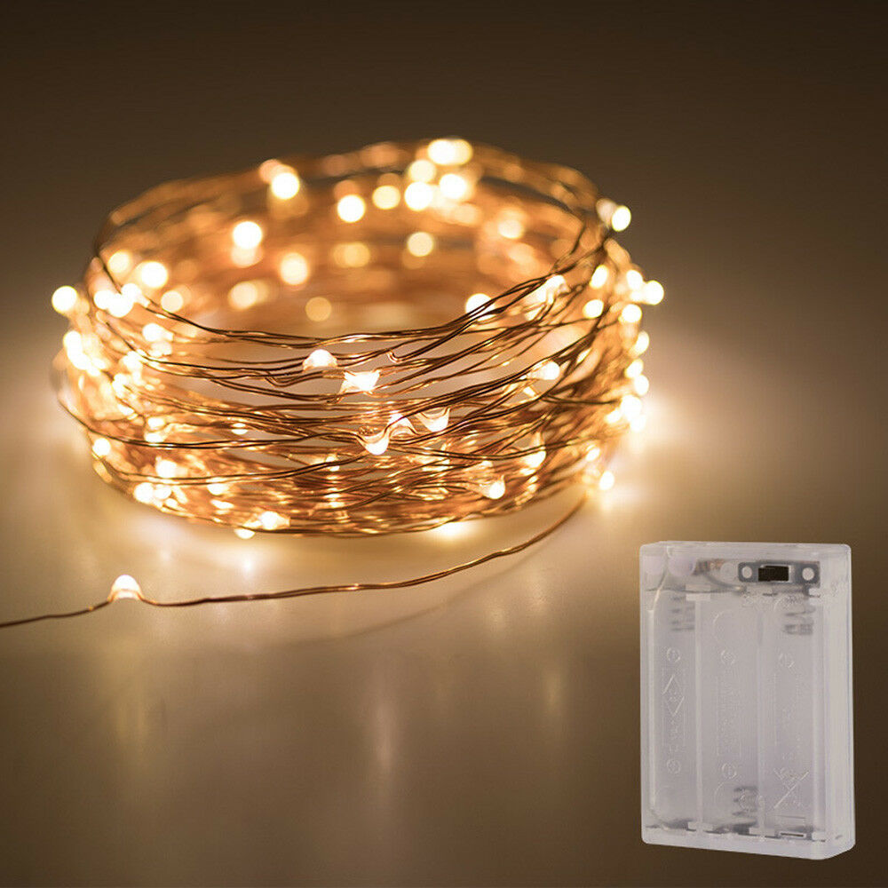 Fairy LED String Copper Wire Lights Battery Xmas Party Fairy Decor Festival Lamp