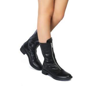 Women Flat Low Heel Chelsea Ankle Boots
