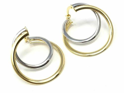 """Details about  /Italian 14k Two Tone Gold Double Round Spiral Earrings 1/"""" 2.2 grams"""