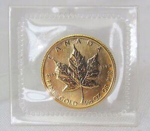 1986 Canada $5 Dollars 1/10 oz Gold Maple Leaf Elizabeth II BU Sealed 9999 Fine