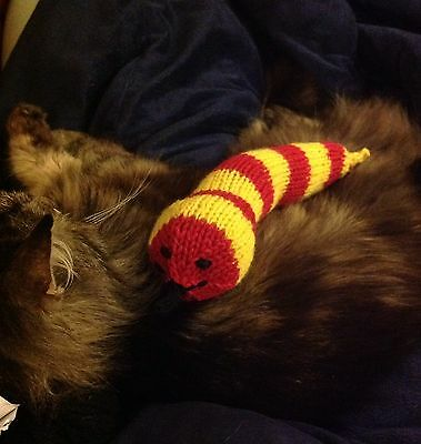 HELP BELL!!! - HAND KNITTED CATNIP TOY SNAKE SOLD FOR WHINNYBANK CAT SANCTUARY.