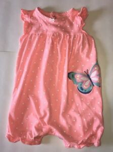 1bc9ac861b9e Carter s Infant Girls Peach Pink   Polka Dot Butterfly Romper 18Mos ...